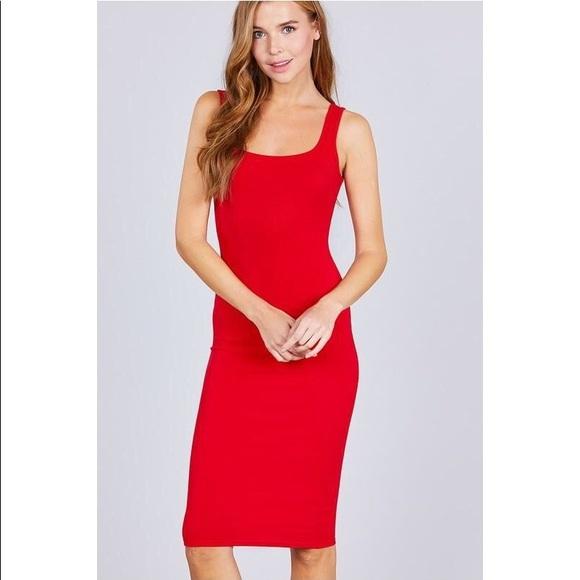 18c6703232 Dresses | Red Square Neck Ribbed Midi Dress | Poshmark